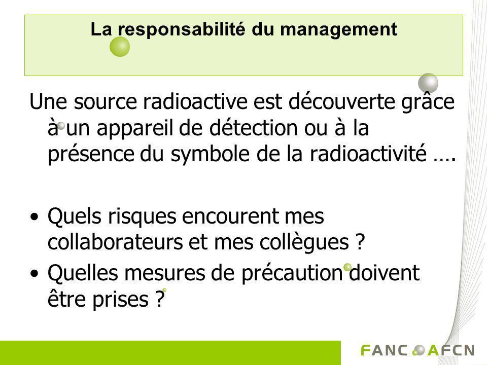 La responsabilité du management Une source radioactive est découverte grâce à un appareil de détection ou à la présence du symbole de la radioactivité