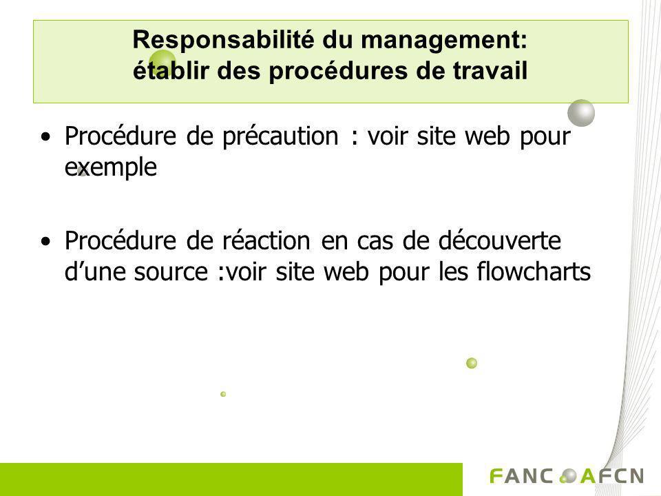 Responsabilité du management: établir des procédures de travail Procédure de précaution : voir site web pour exemple Procédure de réaction en cas de d
