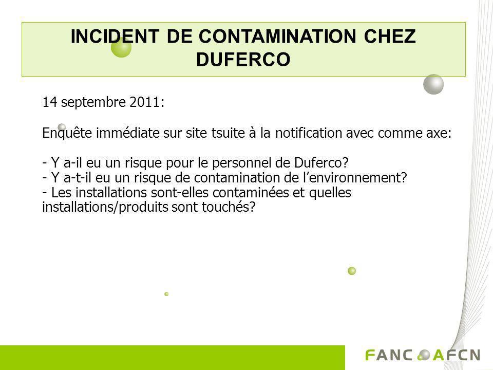 INCIDENT DE CONTAMINATION CHEZ DUFERCO 14 septembre 2011: Enquête immédiate sur site tsuite à la notification avec comme axe: - Y a-il eu un risque po