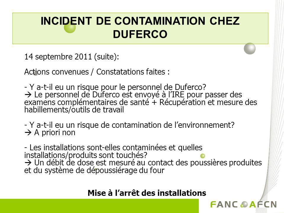 INCIDENT DE CONTAMINATION CHEZ DUFERCO 14 septembre 2011 (suite): Actions convenues / Constatations faites : - Y a-t-il eu un risque pour le personnel