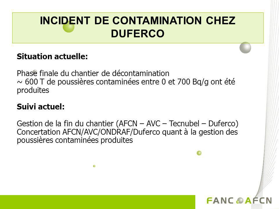 INCIDENT DE CONTAMINATION CHEZ DUFERCO Situation actuelle: Phase finale du chantier de décontamination ~ 600 T de poussières contaminées entre 0 et 70