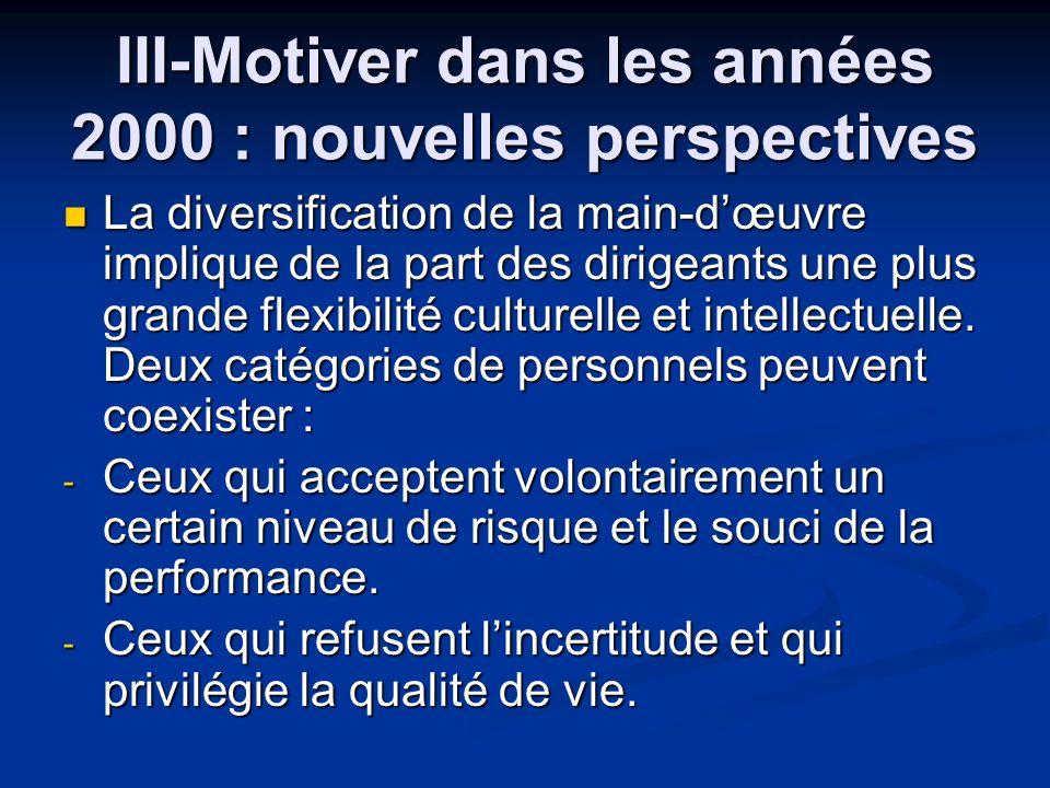 III-Motiver dans les années 2000 : nouvelles perspectives La diversification de la main-dœuvre implique de la part des dirigeants une plus grande flex