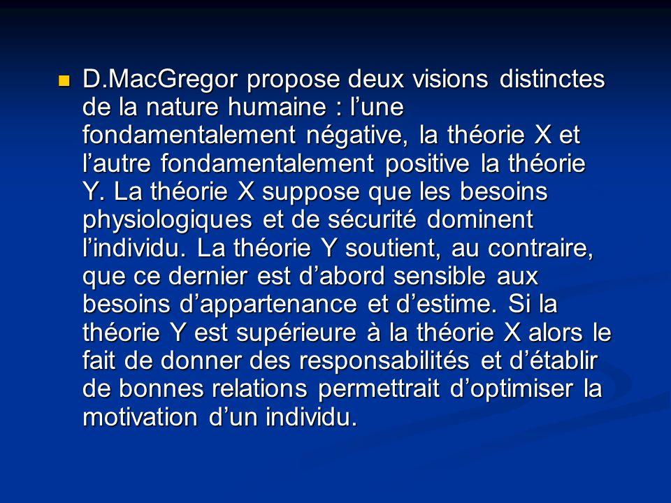 D.MacGregor propose deux visions distinctes de la nature humaine : lune fondamentalement négative, la théorie X et lautre fondamentalement positive la