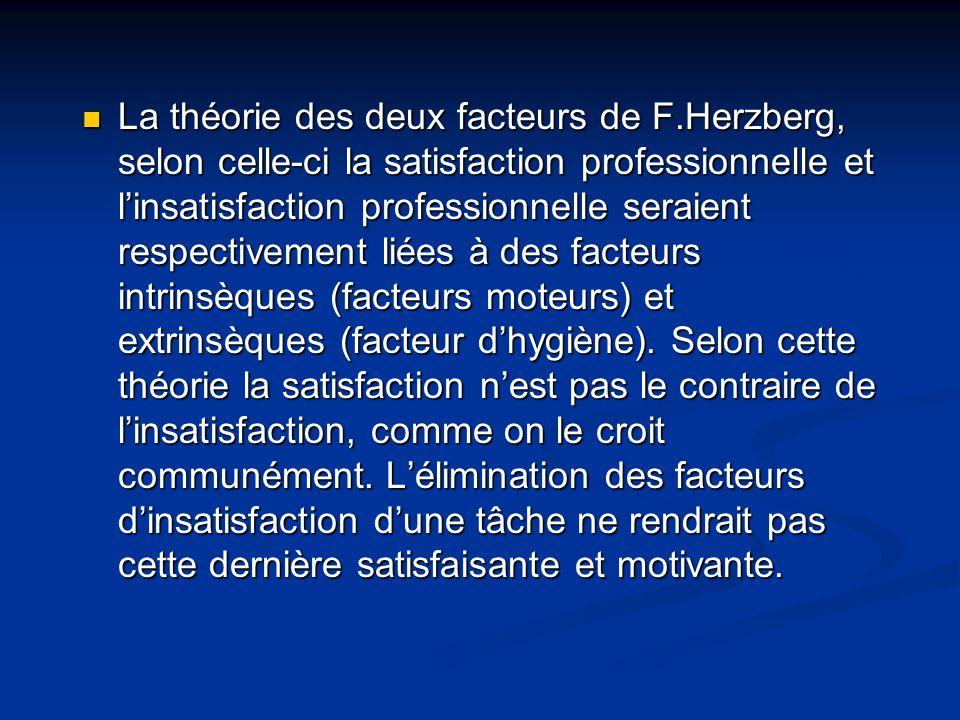 La théorie des deux facteurs de F.Herzberg, selon celle-ci la satisfaction professionnelle et linsatisfaction professionnelle seraient respectivement