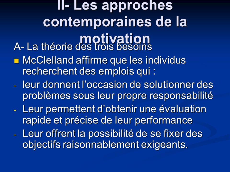 II- Les approches contemporaines de la motivation A- La théorie des trois besoins McClelland affirme que les individus recherchent des emplois qui : M