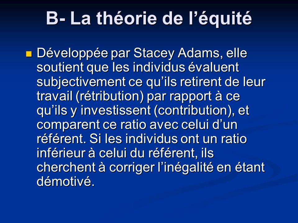 B- La théorie de léquité Développée par Stacey Adams, elle soutient que les individus évaluent subjectivement ce quils retirent de leur travail (rétri
