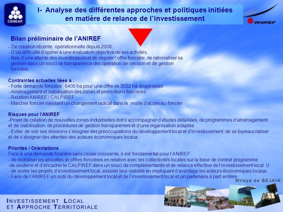 Bilan préliminaire de lANIREF - De création récente, opérationnelle depuis 2008, - Doù difficulté dopérer à une évaluation objective de ses activités.