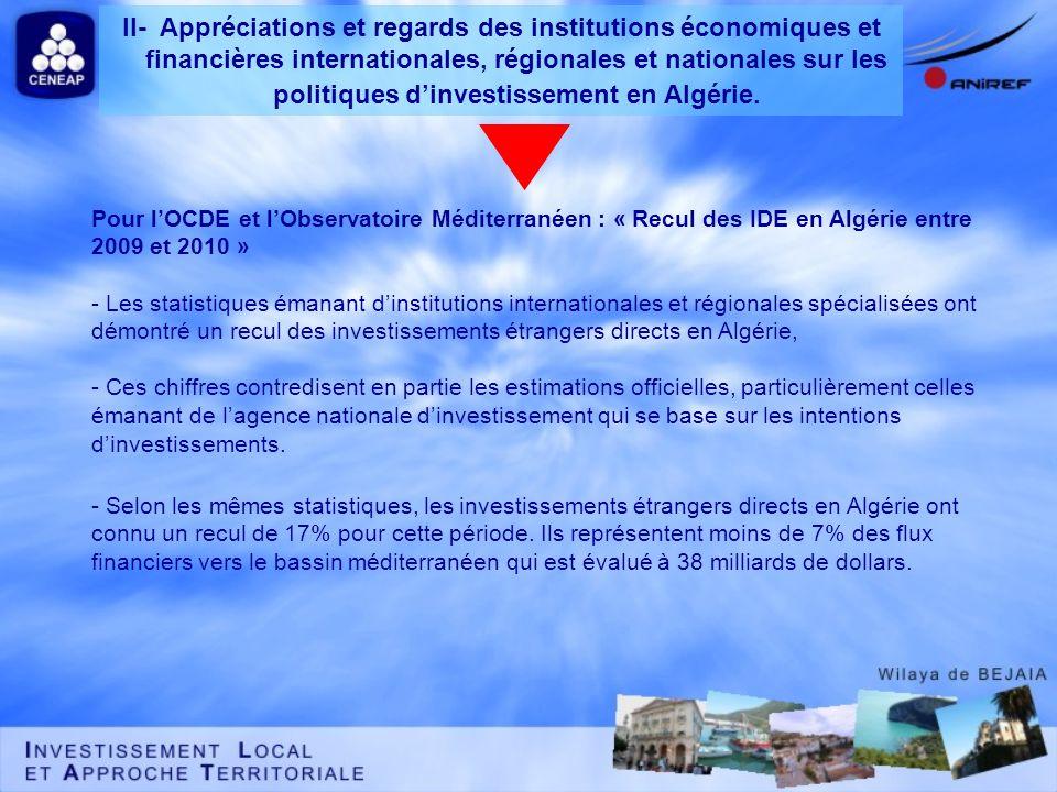 Pour lOCDE et lObservatoire Méditerranéen : « Recul des IDE en Algérie entre 2009 et 2010 » - Les statistiques émanant dinstitutions internationales e