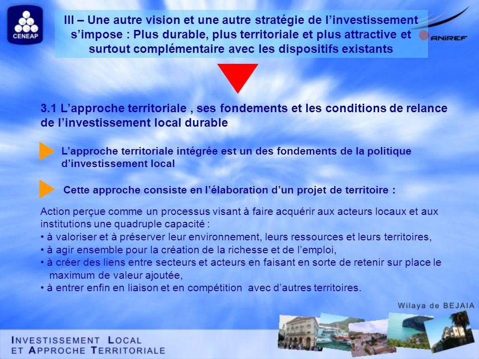 3.1 Lapproche territoriale, ses fondements et les conditions de relance de linvestissement local durable Action perçue comme un processus visant à fai