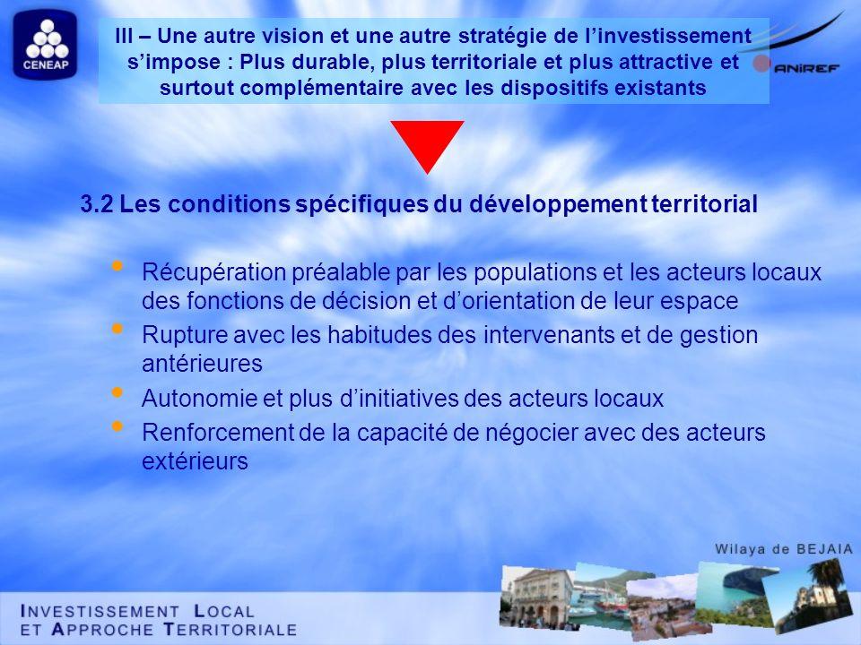 3.2 Les conditions spécifiques du développement territorial Récupération préalable par les populations et les acteurs locaux des fonctions de décision