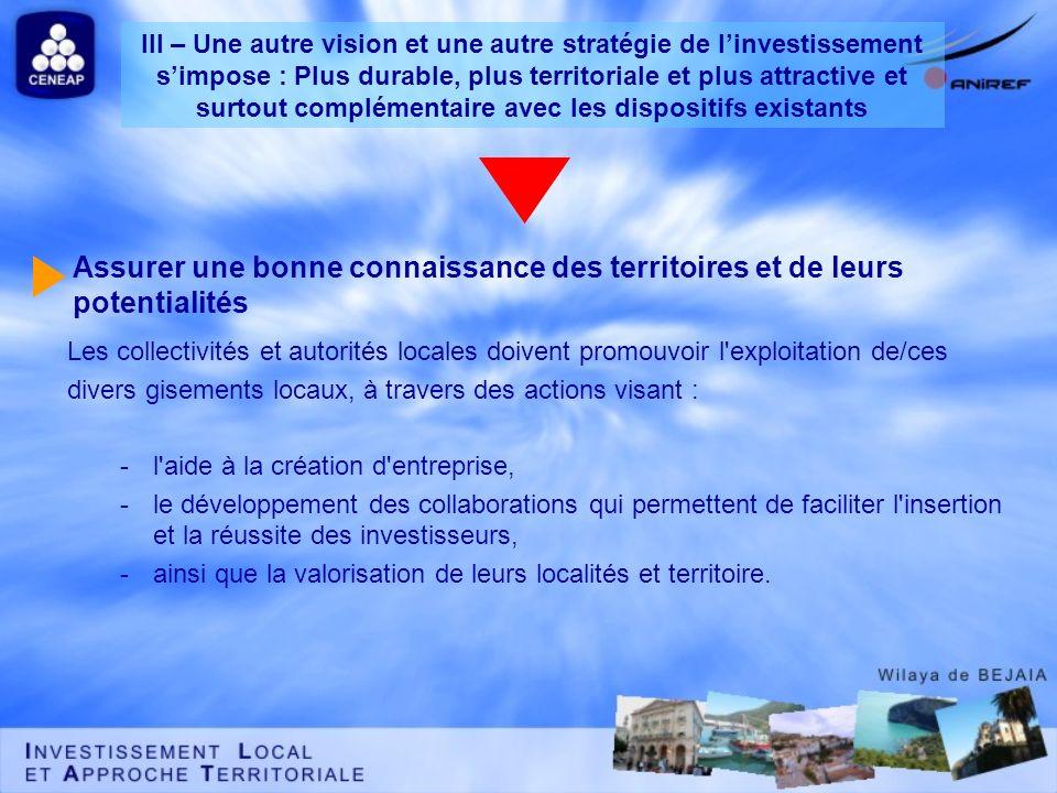 Assurer une bonne connaissance des territoires et de leurs potentialités Les collectivités et autorités locales doivent promouvoir l'exploitation de/c