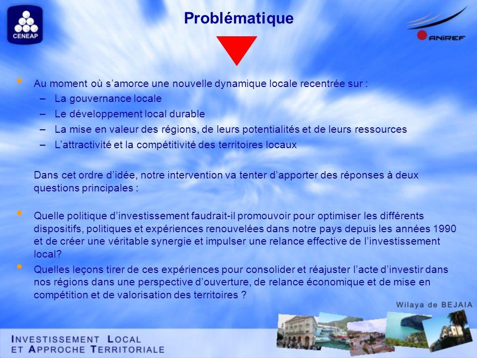 Problématique Au moment où samorce une nouvelle dynamique locale recentrée sur : –La gouvernance locale –Le développement local durable –La mise en va