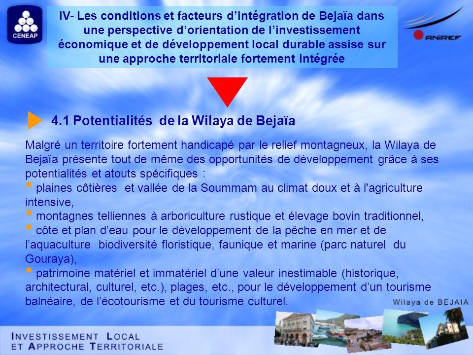 4.1 Potentialités de la Wilaya de Bejaïa Malgré un territoire fortement handicapé par le relief montagneux, la Wilaya de Bejaïa présente tout de même