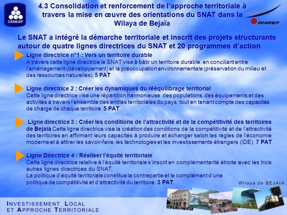 Le SNAT a intégré la démarche territoriale et inscrit des projets structurants autour de quatre lignes directrices du SNAT et 20 programmes daction Li