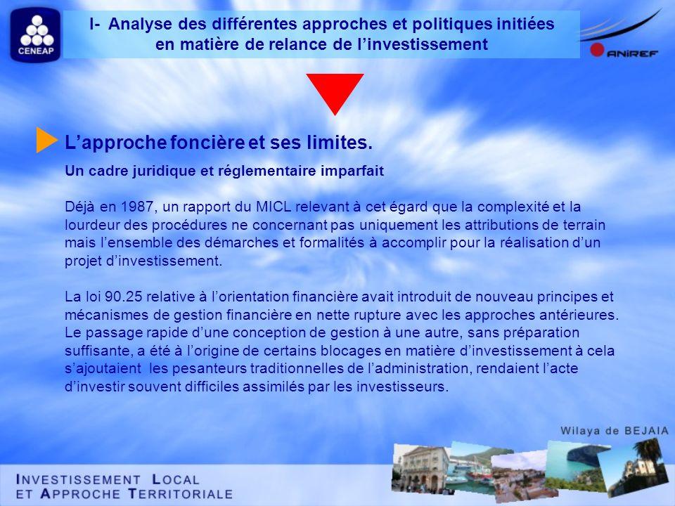 Un cadre juridique et réglementaire imparfait Déjà en 1987, un rapport du MICL relevant à cet égard que la complexité et la lourdeur des procédures ne