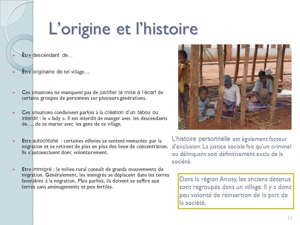 11 Lorigine et lhistoire Être descendant de… Être originaire de tel village… Ces situations ne manquent pas de justifier la mise à lécart de certains groupes de personnes sur plusieurs générations.