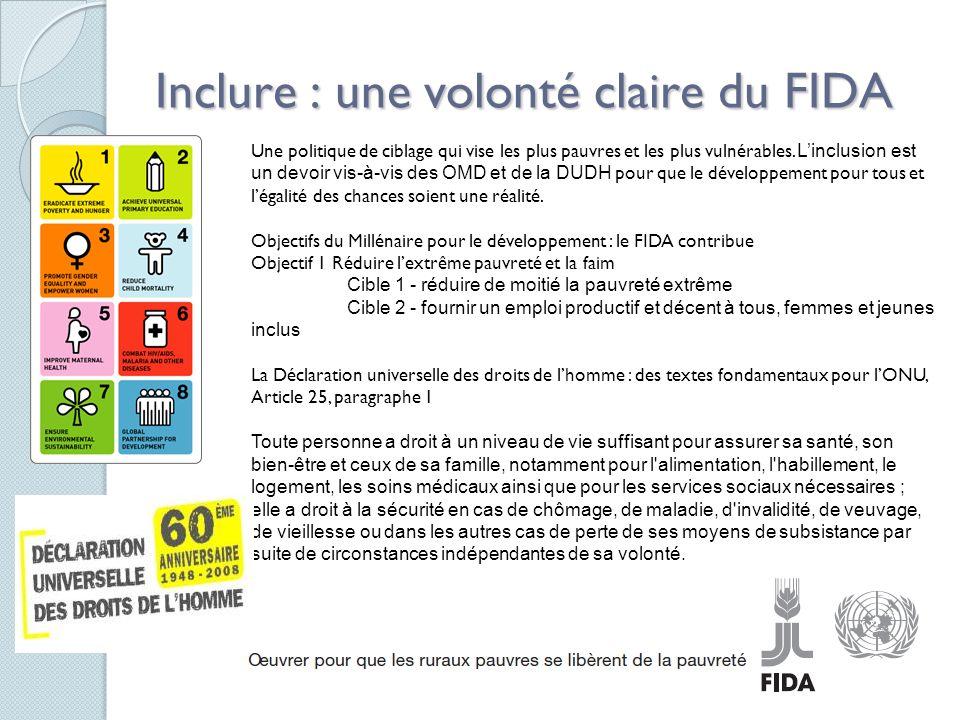 4 Inclure : une volonté claire du FIDA Une politique de ciblage qui vise les plus pauvres et les plus vulnérables.