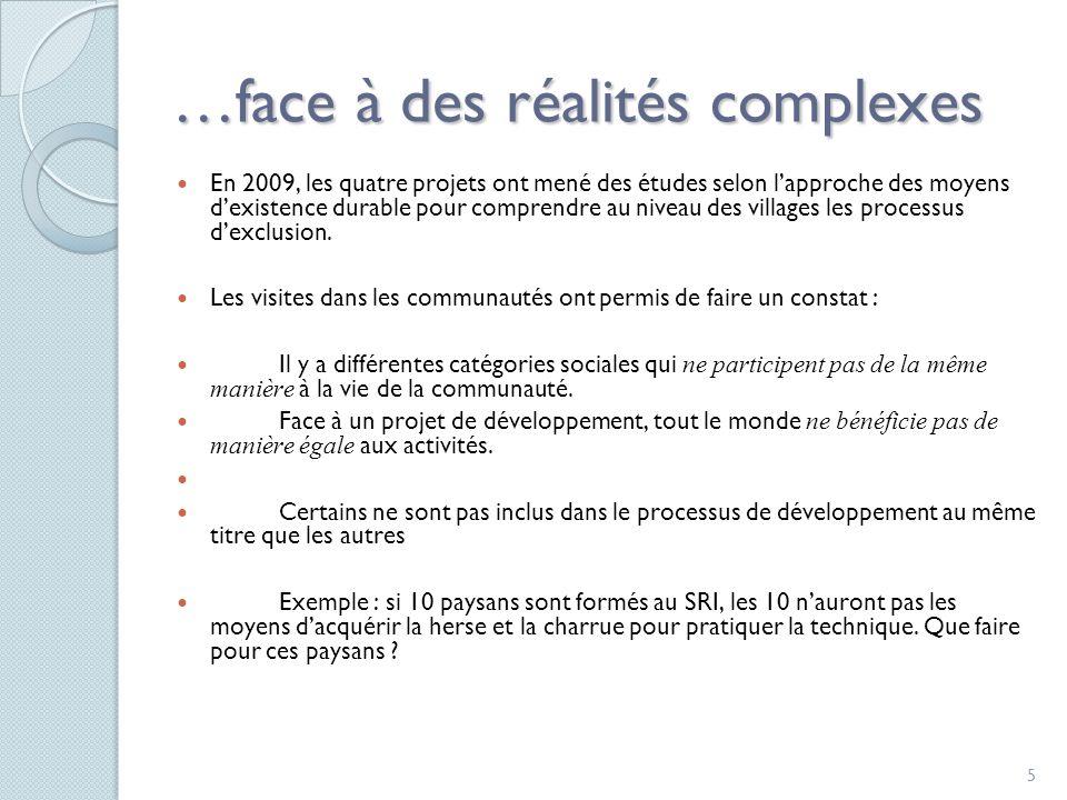 5 …face à des réalités complexes En 2009, les quatre projets ont mené des études selon lapproche des moyens dexistence durable pour comprendre au niveau des villages les processus dexclusion.