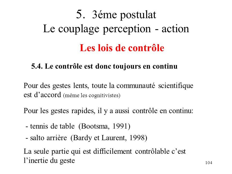 104 5. 3éme postulat Le couplage perception - action Les lois de contrôle 5.4. Le contrôle est donc toujours en continu Pour des gestes lents, toute l