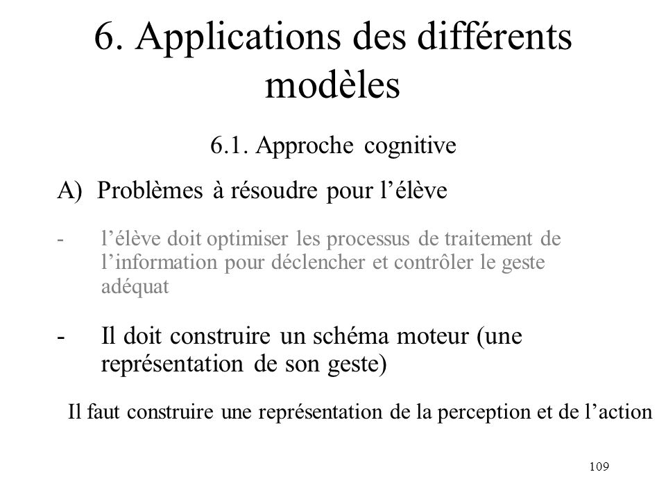 109 6. Applications des différents modèles 6.1. Approche cognitive A) Problèmes à résoudre pour lélève -lélève doit optimiser les processus de traitem