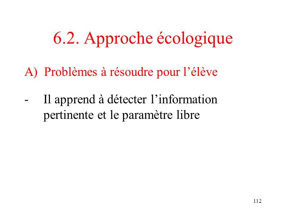 112 6.2. Approche écologique A) Problèmes à résoudre pour lélève -Il apprend à détecter linformation pertinente et le paramètre libre