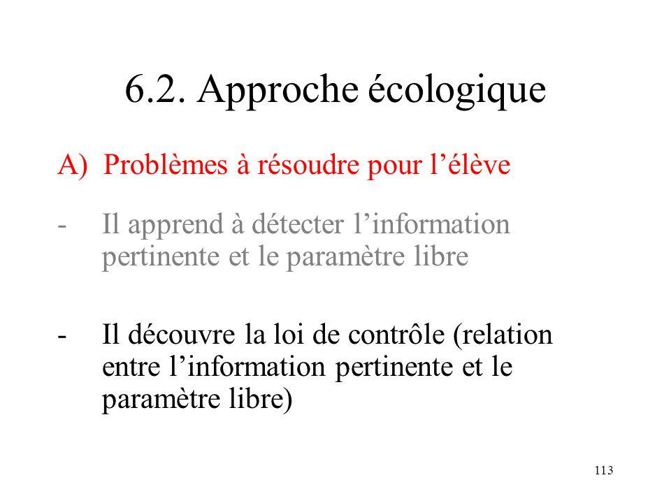 113 6.2. Approche écologique A) Problèmes à résoudre pour lélève -Il apprend à détecter linformation pertinente et le paramètre libre -Il découvre la