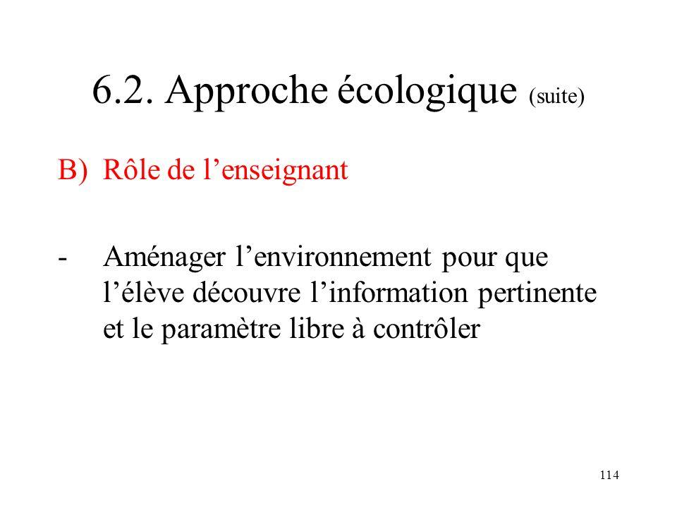 114 6.2. Approche écologique (suite) B) Rôle de lenseignant -Aménager lenvironnement pour que lélève découvre linformation pertinente et le paramètre