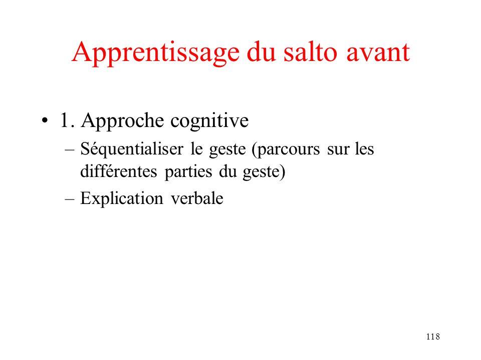 118 Apprentissage du salto avant 1. Approche cognitive –Séquentialiser le geste (parcours sur les différentes parties du geste) –Explication verbale
