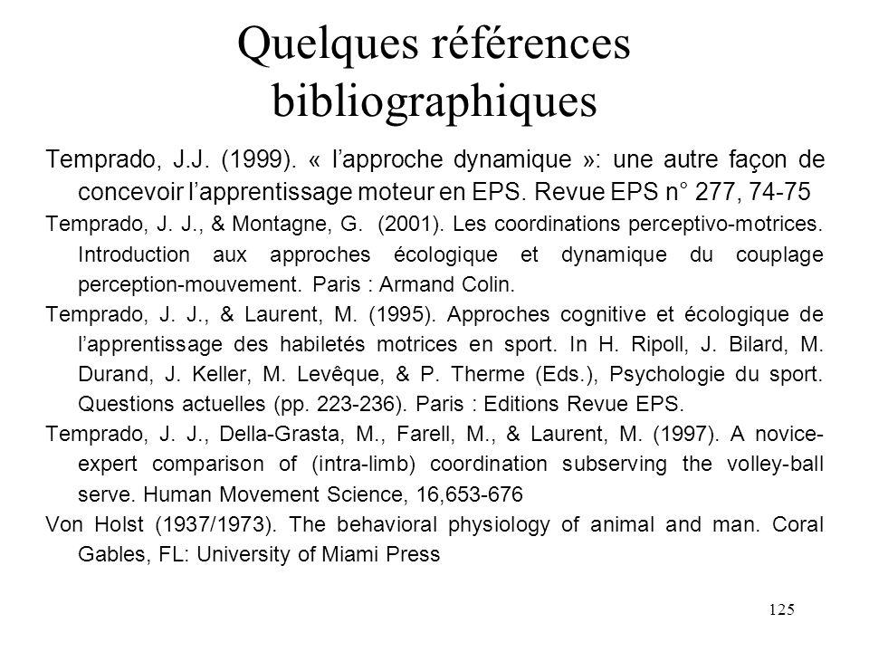 125 Quelques références bibliographiques Temprado, J.J. (1999). « lapproche dynamique »: une autre façon de concevoir lapprentissage moteur en EPS. Re