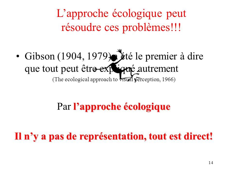 14 Lapproche écologique peut résoudre ces problèmes!!! Gibson (1904, 1979) a été le premier à dire que tout peut être expliqué autrement (The ecologic