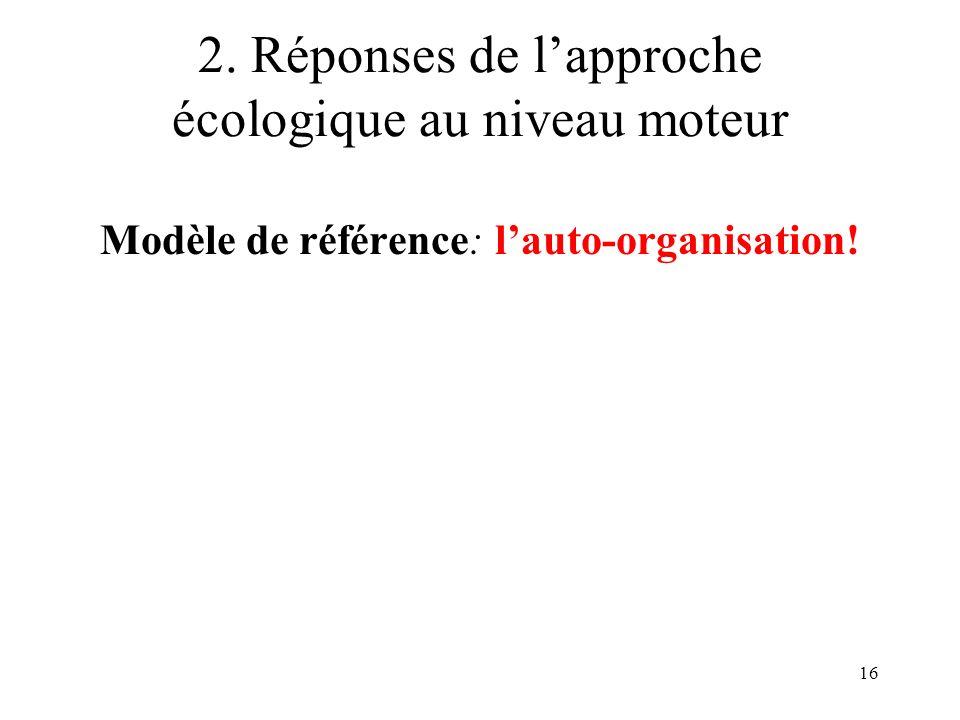 16 2. Réponses de lapproche écologique au niveau moteur Modèle de référence: lauto-organisation!