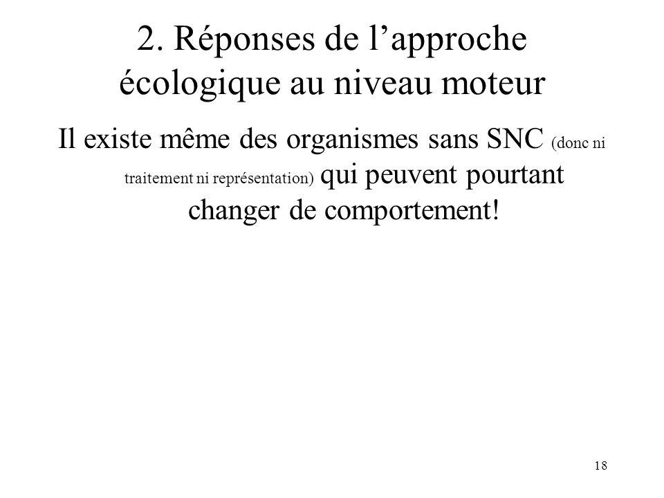 18 2. Réponses de lapproche écologique au niveau moteur Il existe même des organismes sans SNC (donc ni traitement ni représentation) qui peuvent pour