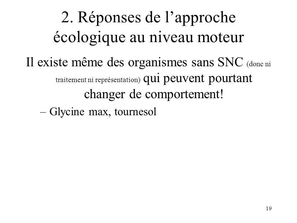 19 2. Réponses de lapproche écologique au niveau moteur Il existe même des organismes sans SNC (donc ni traitement ni représentation) qui peuvent pour