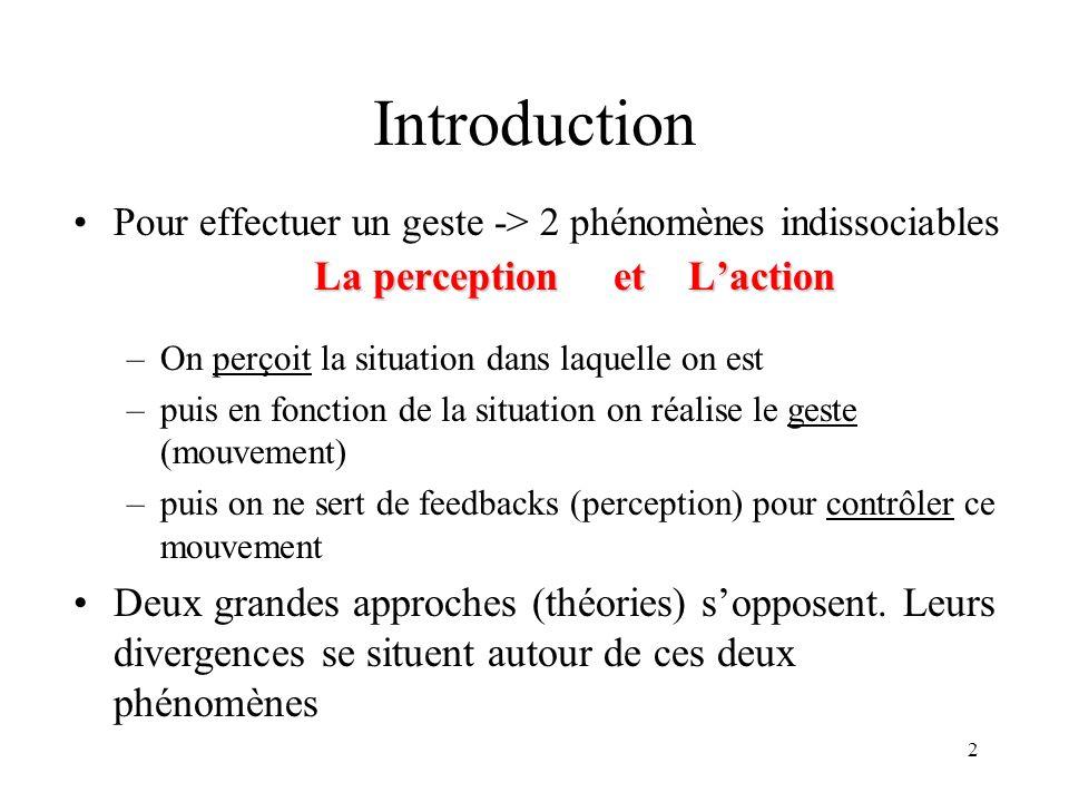 2 Introduction Pour effectuer un geste -> 2 phénomènes indissociables La perception et Laction –On perçoit la situation dans laquelle on est –puis en