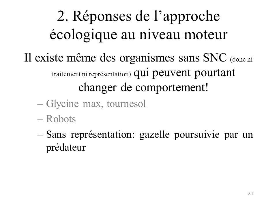 21 2. Réponses de lapproche écologique au niveau moteur Il existe même des organismes sans SNC (donc ni traitement ni représentation) qui peuvent pour