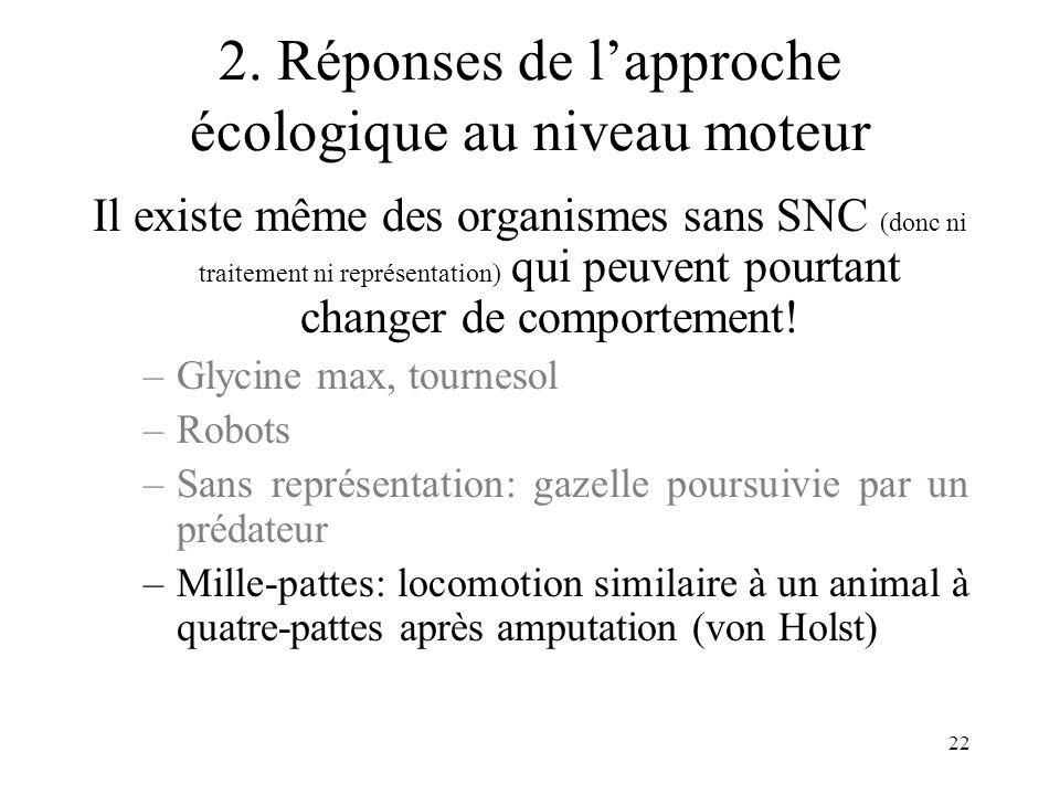 22 2. Réponses de lapproche écologique au niveau moteur Il existe même des organismes sans SNC (donc ni traitement ni représentation) qui peuvent pour