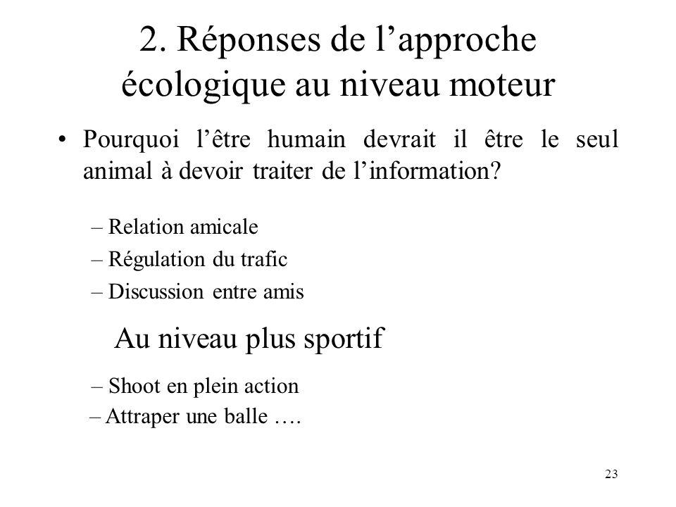 23 2. Réponses de lapproche écologique au niveau moteur Pourquoi lêtre humain devrait il être le seul animal à devoir traiter de linformation? – Relat