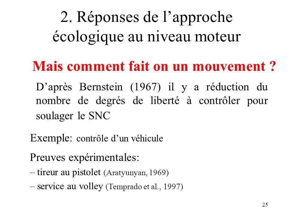 25 2. Réponses de lapproche écologique au niveau moteur Daprès Bernstein (1967) il y a réduction du nombre de degrés de liberté à contrôler pour soula