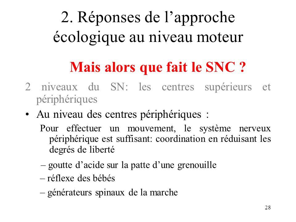 28 2. Réponses de lapproche écologique au niveau moteur 2 niveaux du SN: les centres supérieurs et périphériques Au niveau des centres périphériques :