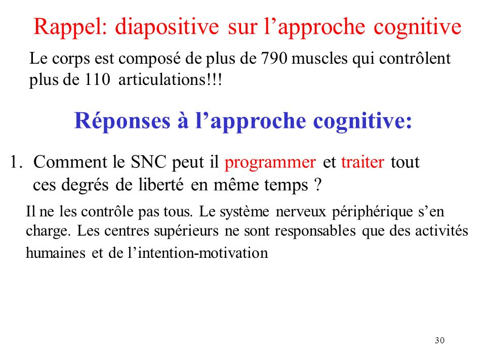 30 Rappel: diapositive sur lapproche cognitive Le corps est composé de plus de 790 muscles qui contrôlent plus de 110 articulations!!! 1.Comment le SN