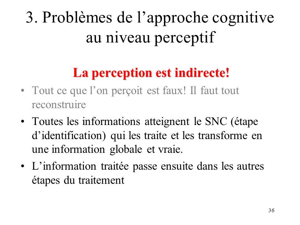 36 La perception est indirecte! Tout ce que lon perçoit est faux! Il faut tout reconstruire Toutes les informations atteignent le SNC (étape didentifi