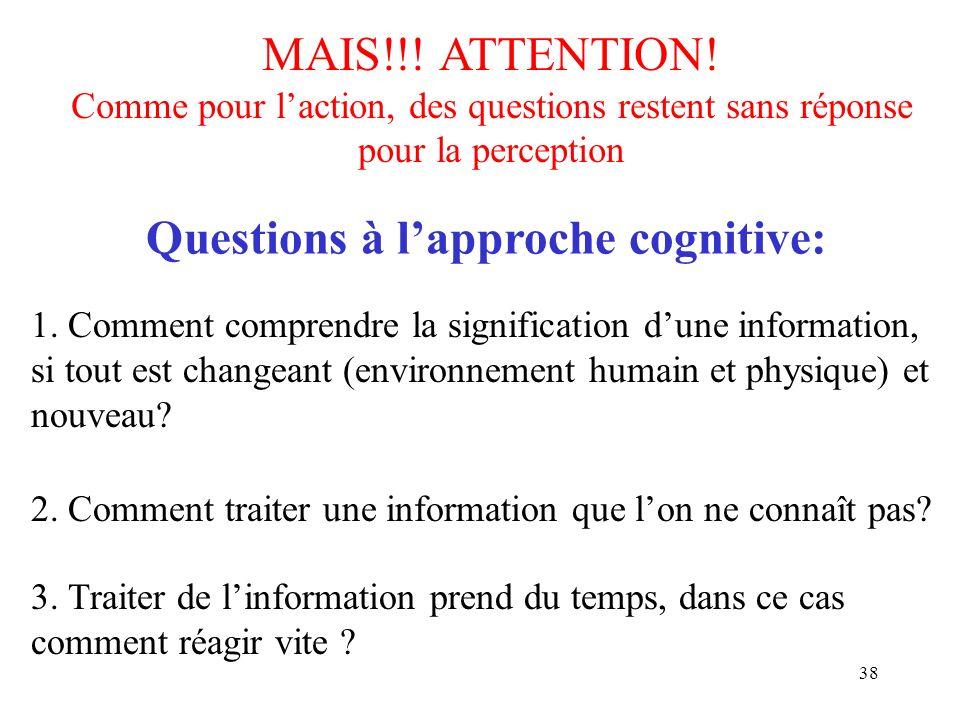 38 MAIS!!! ATTENTION! Comme pour laction, des questions restent sans réponse pour la perception 2. Comment traiter une information que lon ne connaît