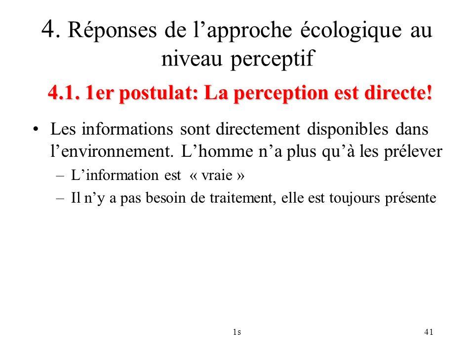 1s41 Les informations sont directement disponibles dans lenvironnement. Lhomme na plus quà les prélever –Linformation est « vraie » –Il ny a pas besoi