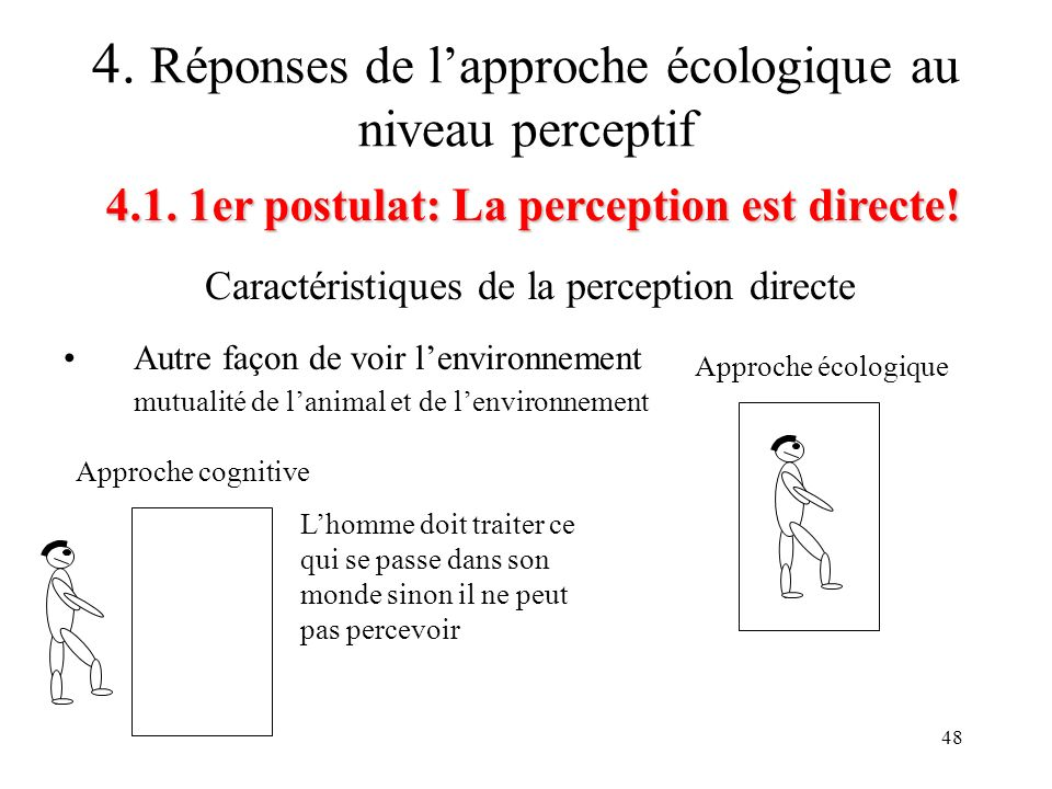 48 Caractéristiques de la perception directe 4.1. 1er postulat: La perception est directe! 4. Réponses de lapproche écologique au niveau perceptif Aut