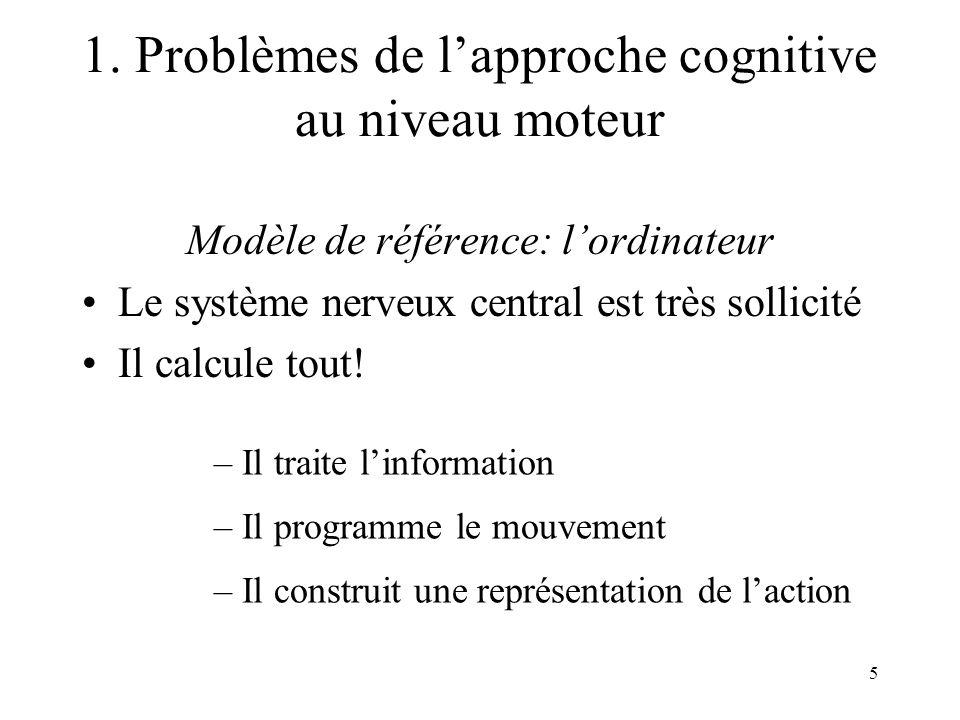 5 Modèle de référence: lordinateur Le système nerveux central est très sollicité Il calcule tout! – Il traite linformation – Il programme le mouvement