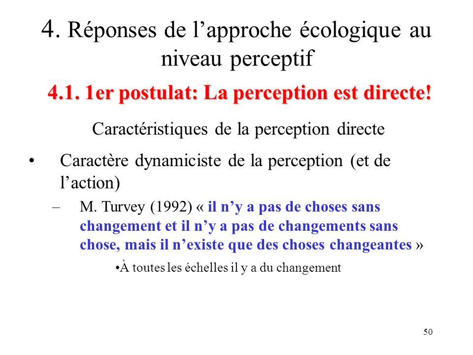 50 Caractéristiques de la perception directe 4.1. 1er postulat: La perception est directe! 4. Réponses de lapproche écologique au niveau perceptif Car