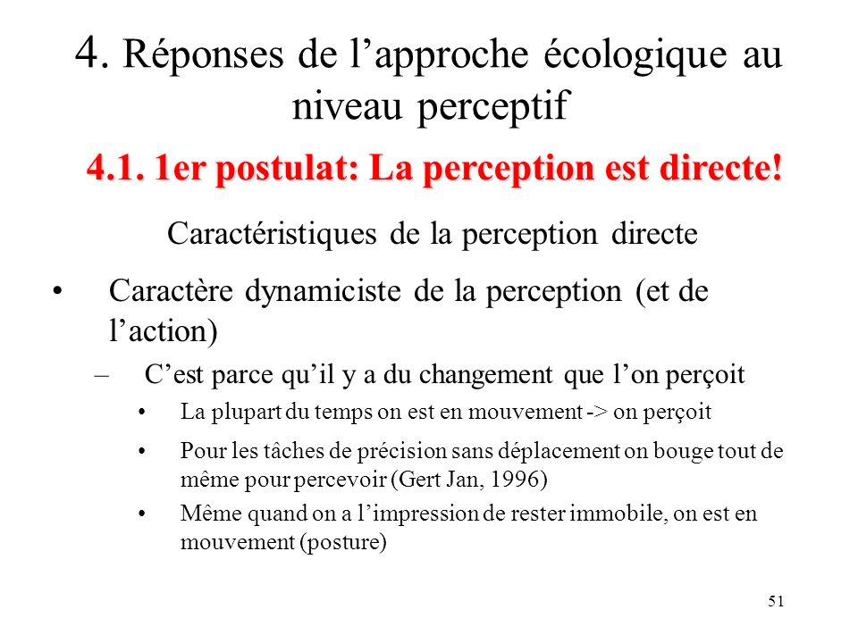 51 Caractéristiques de la perception directe 4.1. 1er postulat: La perception est directe! 4. Réponses de lapproche écologique au niveau perceptif Car