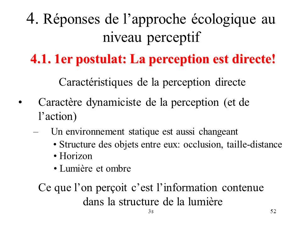 3s52 Caractéristiques de la perception directe 4.1. 1er postulat: La perception est directe! 4. Réponses de lapproche écologique au niveau perceptif C