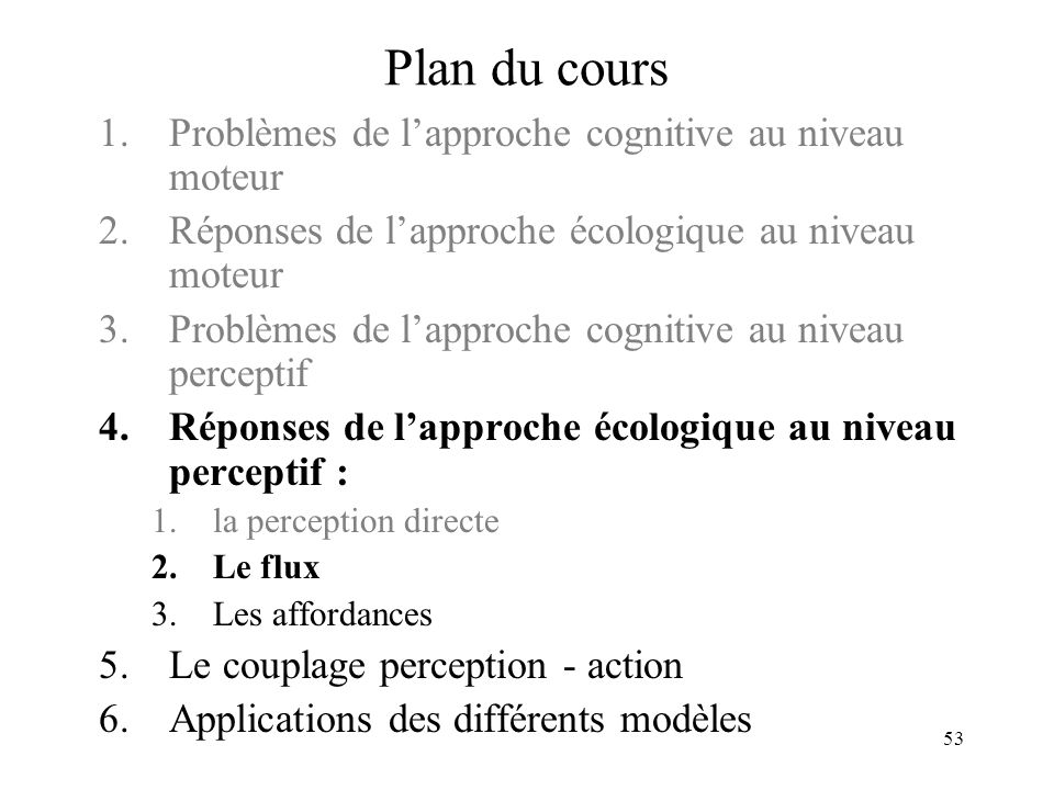53 Plan du cours 1.Problèmes de lapproche cognitive au niveau moteur 2.Réponses de lapproche écologique au niveau moteur 3.Problèmes de lapproche cogn