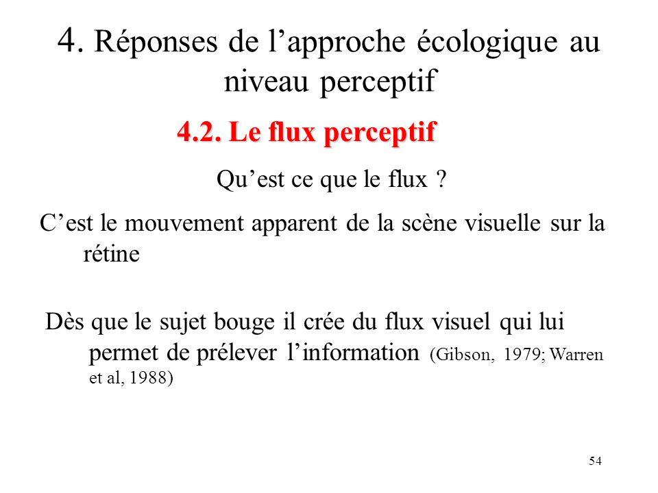 54 Quest ce que le flux ? 4.2. Le flux perceptif 4. Réponses de lapproche écologique au niveau perceptif Cest le mouvement apparent de la scène visuel